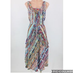 Sundance Havana Silk Boho Ruffle Midi Dress